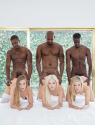 Three Schoolgirls Having Interracial Group Sex