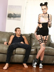 Tattooed Slut Leigh Raven Gets Drilled On The Couch
