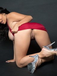 Busty Latina MILF Missy Martinez Spreading In Red Dress