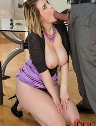 Busty Secretary Gets Down And Fuck