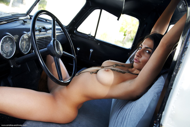 Nadia Posing Nude In Pickup Truck 8 / 17 Sexy Picture nude ...