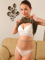 Elilith Teases In White Lingerie And Pantyhose