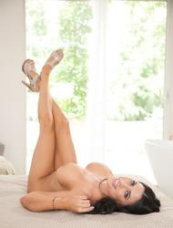 Big Boobed Brunette Babe Lacie James Strips Naked