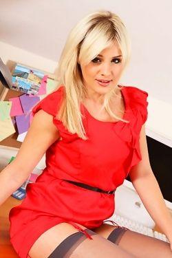 Blond secretary in red dress