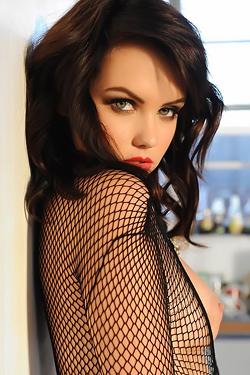 Melissa Clarke In Sexy Black Fishnet Dress