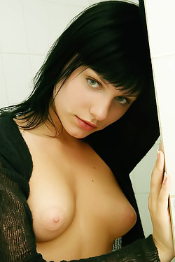 Brunette In The Bathroom