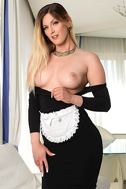 Gorgeous Blonde Maid Mira Sunset Teasing
