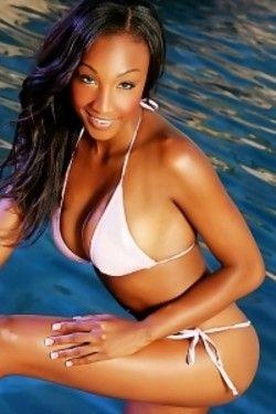 Ebony babe by the pool