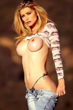 Heather blonde in jeans