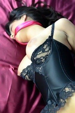 Sunny Leone pink silk bondage
